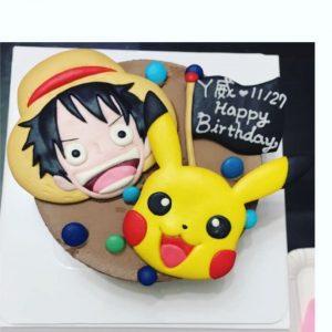 海賊王魯夫大戰寶可夢皮卡丘客製化造型生日蛋糕