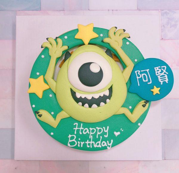台北生日蛋糕推薦,怪獸電力公司大眼仔客製化卡通造型蛋糕