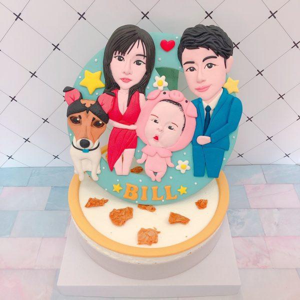 台北客製化蛋糕推薦,Q版全家福造型生日蛋糕登場