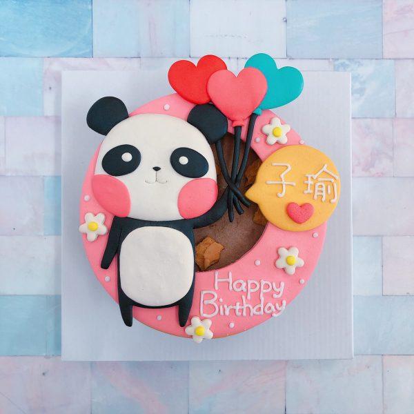 台北客製化生日蛋糕推薦,熊貓拿氣球造型蛋糕
