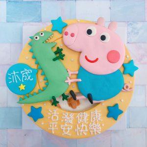 喬治豬恐龍卡通造型蛋糕,可愛粉紅豬小妹生日蛋糕,小豬佩奇Peppa Pig