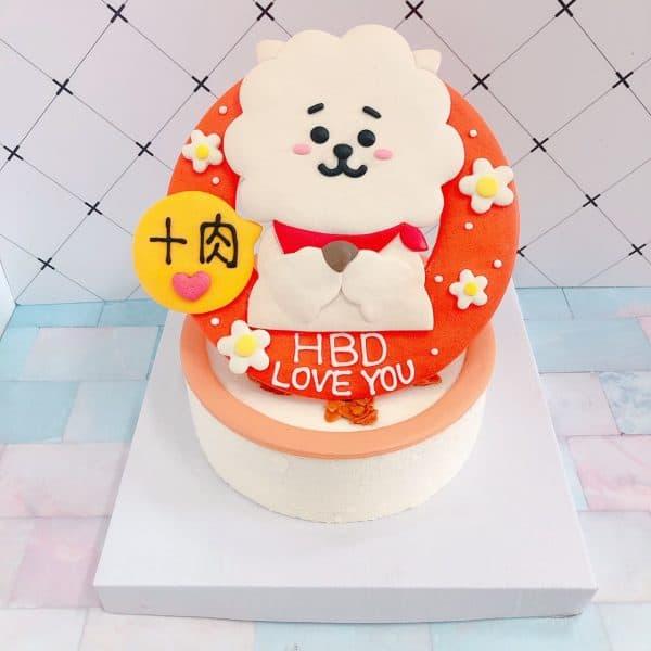 韓國BT21 RJ羊駝生日蛋糕,BTS防彈少年團客製化造型蛋糕來囉!