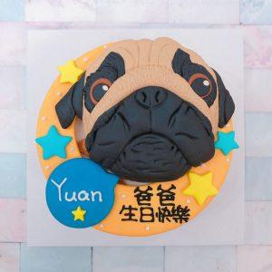 客製化寵物宅配蛋糕推薦,Q版巴哥造型生日蛋糕