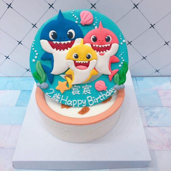 BABY SHARK造型客製化宅配蛋糕推薦,鯊魚寶寶卡通生日蛋糕