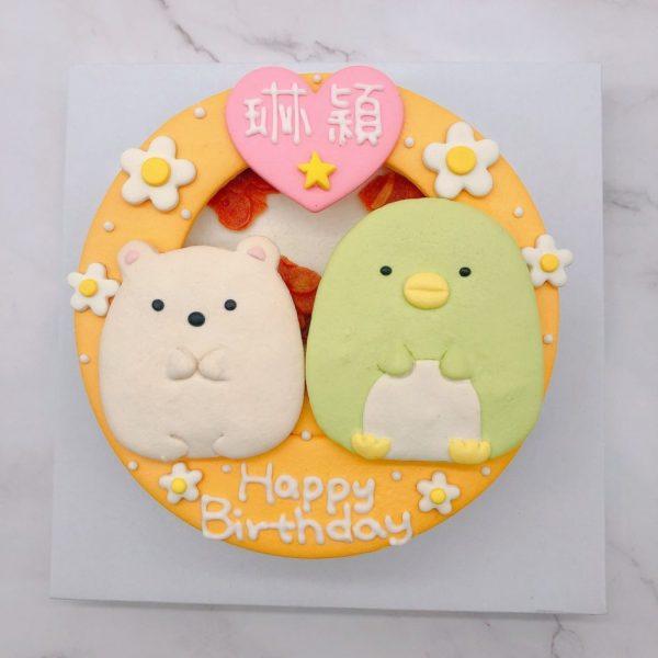 角落生物白熊生日蛋糕推薦,企鵝造型卡通蛋糕宅配