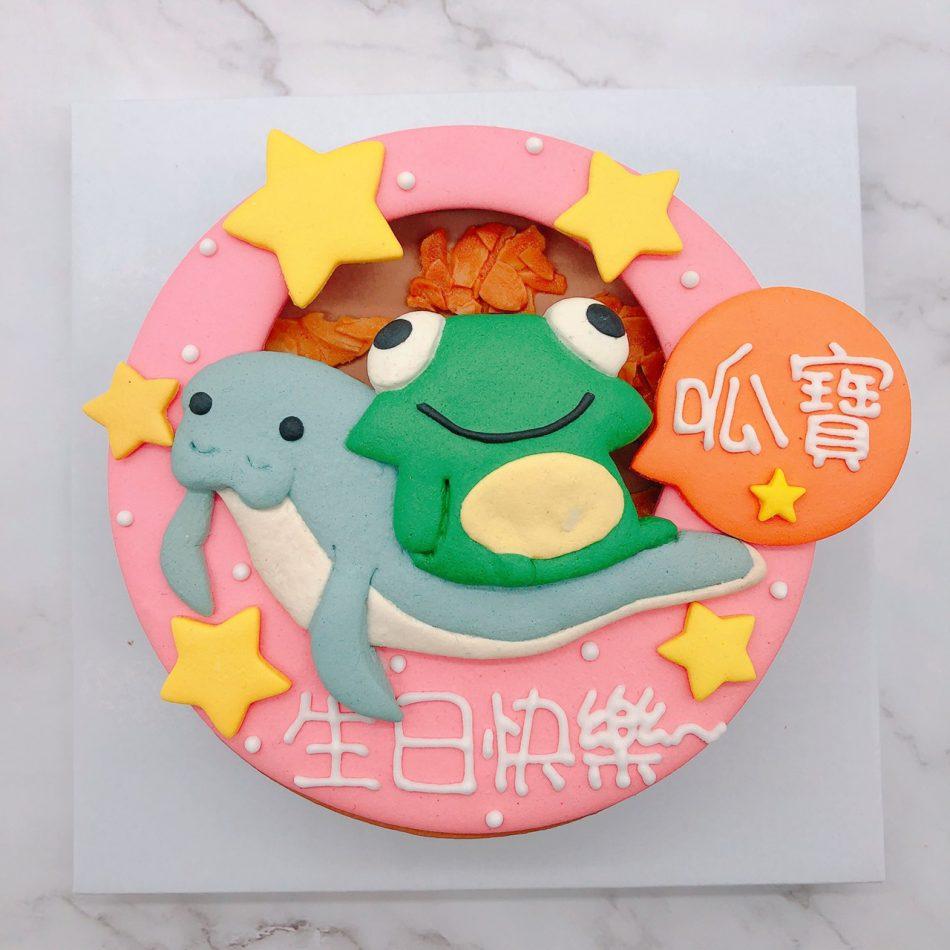 青蛙造型蛋糕手作,海牛客製化生日蛋糕作品分享