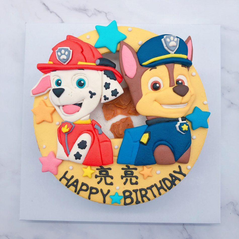 汪汪隊立大功阿奇造型蛋糕,毛毛卡通生日蛋糕