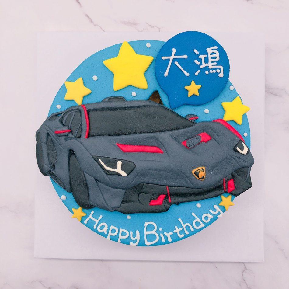 藍寶堅尼神牛車子生日蛋糕,Lamborghini汽車造型蛋糕宅配