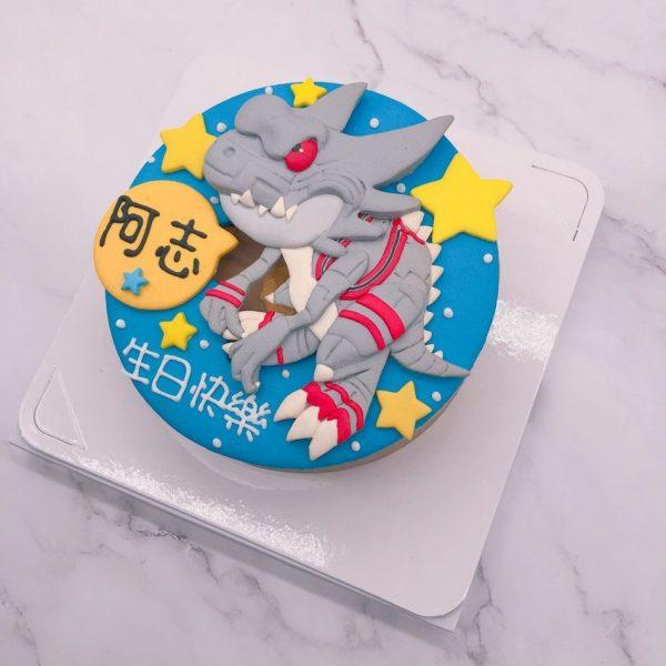 恐龍造型蛋糕推薦,灰色恐龍生日蛋糕宅配