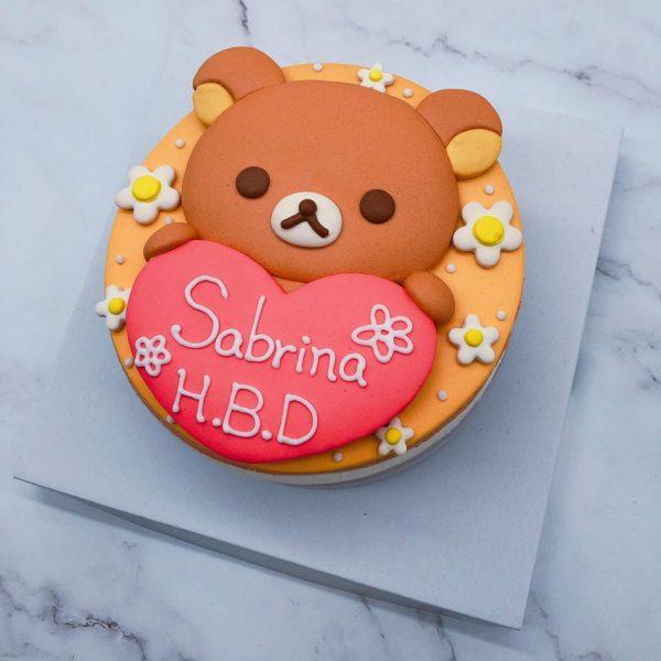 拉拉熊造型蛋糕手工捏製,懶懶熊生日蛋糕手作分享