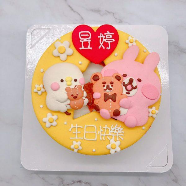 卡娜赫拉粉紅兔兔造型蛋糕,P助抱熊生日蛋糕作品分享