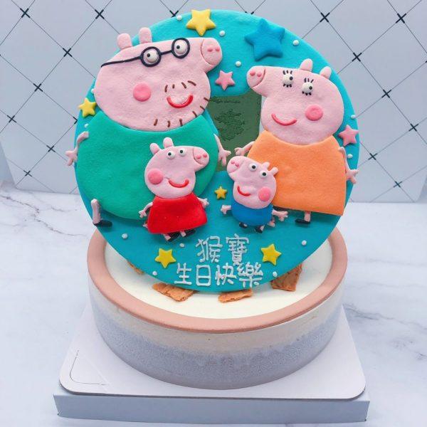 佩佩豬卡通造型蛋糕,粉紅豬小妹一家人生日蛋糕分享