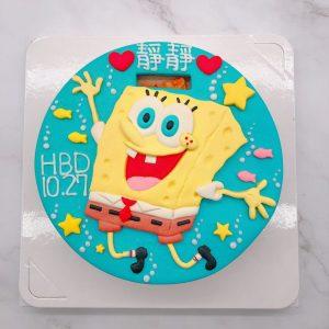 台北海綿寶寶生日蛋糕推薦,卡通造型蛋糕宅配訂購