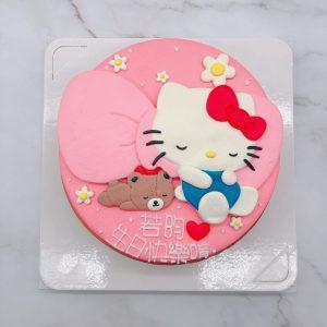 Hello Kitty造型蛋糕手工捏製,凱蒂貓生日蛋糕手作分享