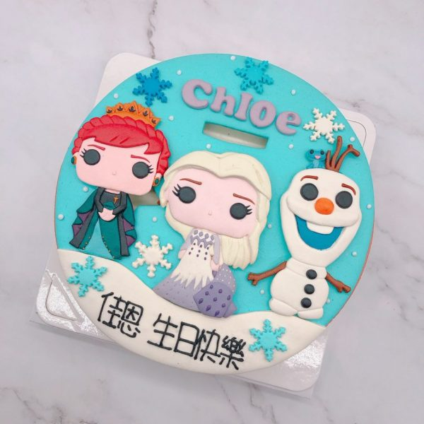 Q版艾莎公主ELSA造型蛋糕,雪寶生日蛋糕推薦
