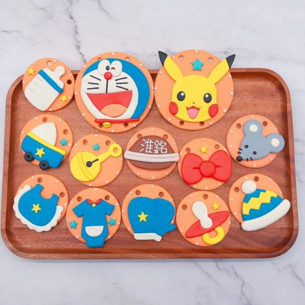 哆啦A夢收涎餅乾作品分享,皮卡丘寶寶客製化收涎餅乾